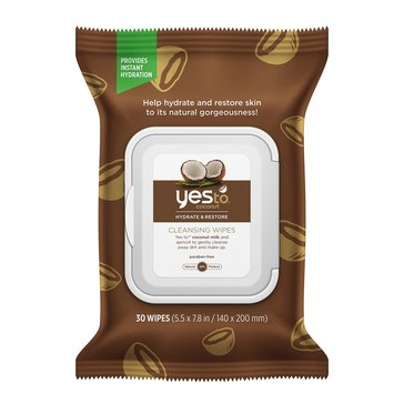 Yes to Coconut Hydrate & Restore Cleansing Wipes, 30ct