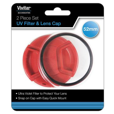 Vivitar 52mm UV Filter and Snap-On Lens Cap