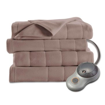 Sunbeam Quilted Fleece Electric Blanket, Mushroom - Queen