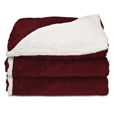 Sunbeam Heated Reversible Sherpa Throw Blanket, Garnet