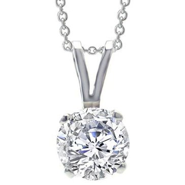 14K White Gold 1/2 cttw Diamond Round Solitaire Pendant