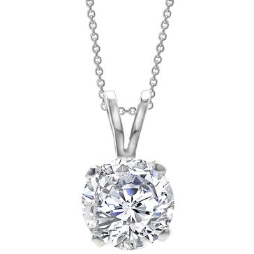 14K White Gold 1 cttw Diamond Round Solitaire Pendant