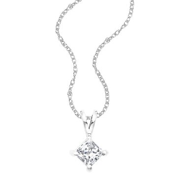 14K White Gold 1/2 cttw Princess Cut Diamond Solitaire Pendant