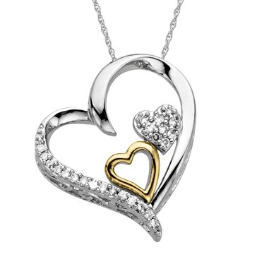 Sterling Silver 14K Diamond Heart Pendant