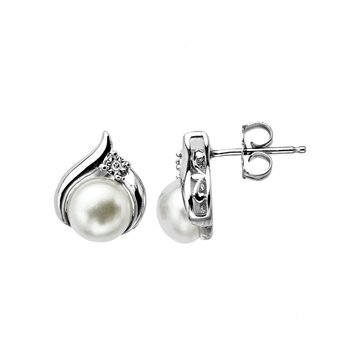 Sterling Silver Fresh Water Pearl and Diamond Earrings