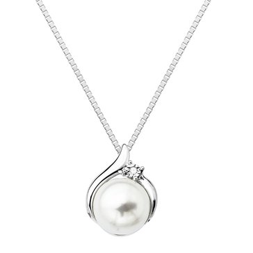 Sterling Silver Fresh Water Pearl and Diamond Pendant