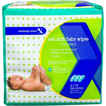 Exchange Select Cotton Cloth Unscented Sensitive Baby Wipes, 216-Count (3-Pack)