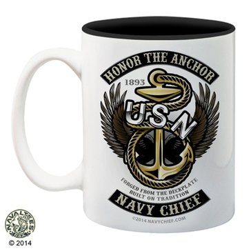 NavalTees USN Honor The Anchor CPO 15 Oz Mug
