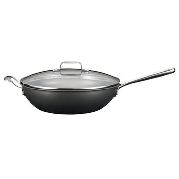 Emeril by All-Clad Hard Anodized Dishwasher Safe Chef's Pan With Lid, 5-Quart, Black
