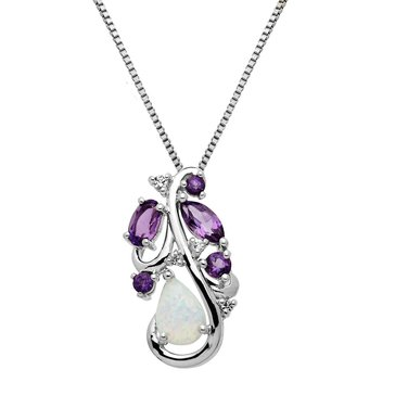 Sterling Silver Opal, Amethyst, and White Topaz Pendant