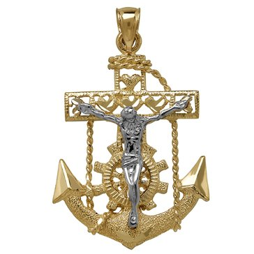 10K Crucifix Anchor Charm