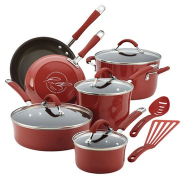 Rachael Ray Cucina 12-Piece Porcelain Cookware Set, Red