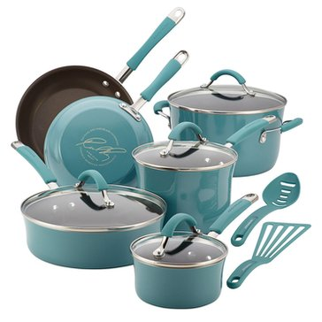 Rachael Ray Cucina 12-Piece Porcelain Cookware Set, Blue