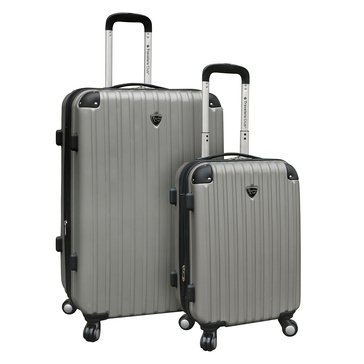 Travelers Club 2-Piece Hardside Spinner Set - Silver