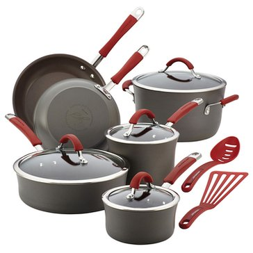 Rachael Ray Cucina Hard Anodized 12-Piece Cookware Set, Red