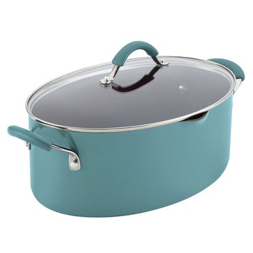 Rachael Ray Cucina 8-Quart Oval Pasta Pot, Blue