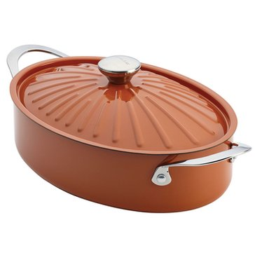 Rachael Ray Cucina 5-Quart Covered Oval Sauteuse, Orange