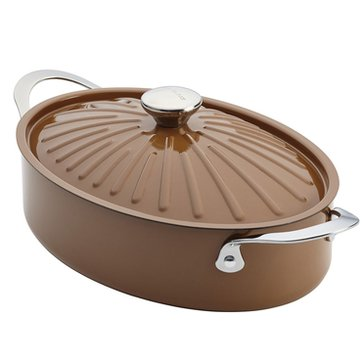 Rachael Ray Cucina 5-Quart Covered Oval Sauteuse, Mushroom