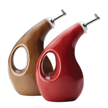 Rachael Ray Cucina 13-Ounce Cruet Set, Red/Mushroom