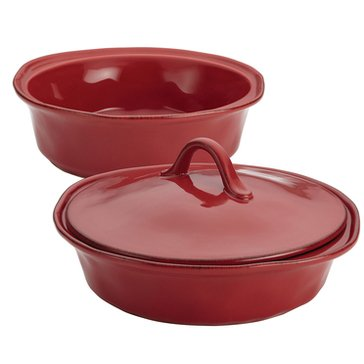 Rachael Ray Cucina 1.5-Quart & 2-Quart Covered Round Casserole Set, Red