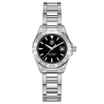 Tag Heuer Women's Aquaracer Watch WAY1410.BA0920, Black/ Fine Brushed and Polished Steel 27mm