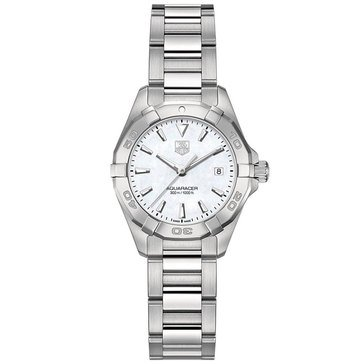 Tag Heuer Women's Aquaracer Watch WAY1412.BA0920, Mother of Pearl/ Fine Brushed and Polished Steel 27mm