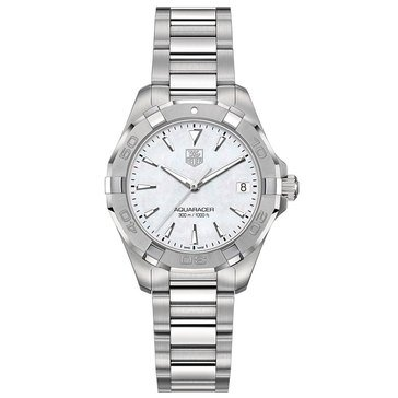 Tag Heuer Women's Aquaracer Watch WAY1312.BA0915, Mother of Pearl/ Fine Brushed and Polished Steel 32mm