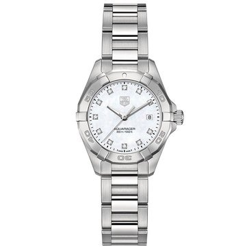 Tag Heuer Women's Aquaracer .08 Cttw Diamond Watch WAY1413.BA0920, Mother of Pearl/ Fine Brushed and Polished Steel 27mm