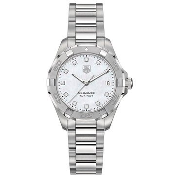 Tag Heuer Women's Aquaracer Diamond Watch WAY1313.BA0915, Mother of Pearl/ Fine Brushed and Polished Steel 32mm