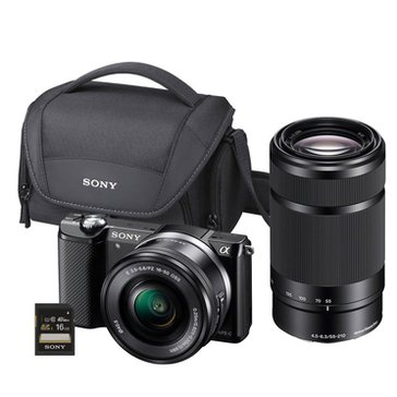 Sony Alpha A5000 Mirrorless Digital Camera Bundle - Includes 16-50mm & 55-210mm Lenses + Case & 16GB