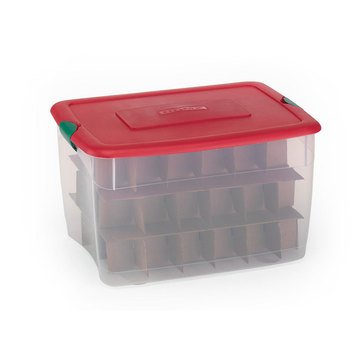 Homz 64-Quart Latching Clear Ornament Storage Bin with Inserts