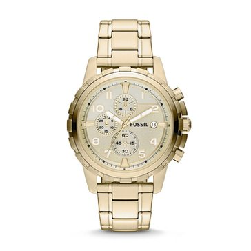 Fossil Men's Dean Gold Tone Bracelet Chronograph Watch, 45mm