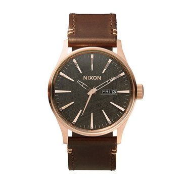 Nixon Men's Sentry Gold Tone Brown Leather Watch 42mm