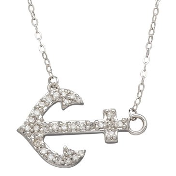 10K White Gold 1/10 cttw Diamond Anchor Pendant