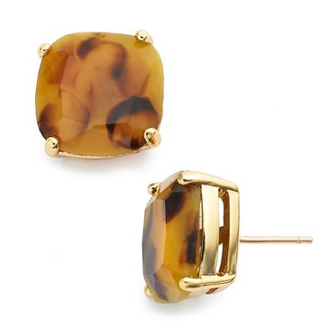 Kate Spade Gold Tone Small Square Tortoise Studs