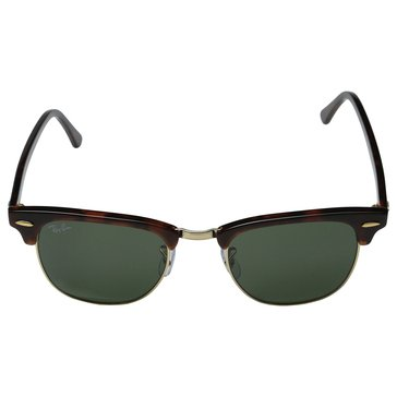 Ray-Ban Unisex Clubmaster Classic Sunglasses Tortoise/Arista/Green Classic 49mm