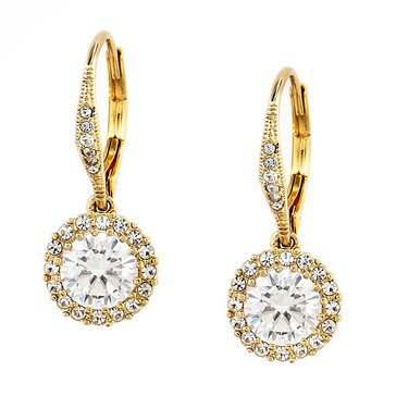 Nadri Gold Tone Round CZ Drop Leverback Earrings