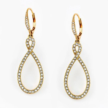 Nadri Gold Tone Pave Figure 8 CZ Earrings