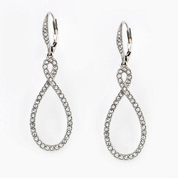 Nadri Silver Tone Pave Figure 8 CZ Earrings