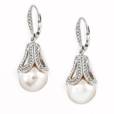 Nadri Silver Tone Pearl Drop With Pave Cubic Zirconia Earrings