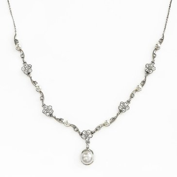 Nadri Silver Tone Pearl & Flower Y Necklace