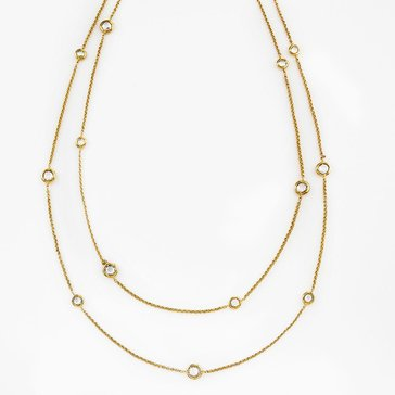 Nadri Gold Tone 54 CZ Bezel Chain Necklace