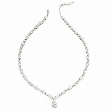 Nadri Silver Tone Pear CZ Drop Necklace