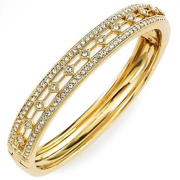 Nadri Gold Tone CZ Track Bangle