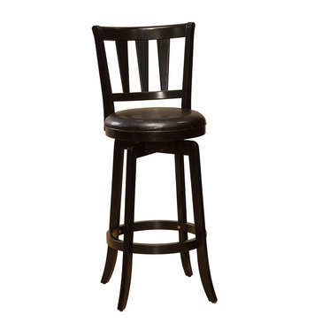 Presque Isle Swivel Black Bar Stool