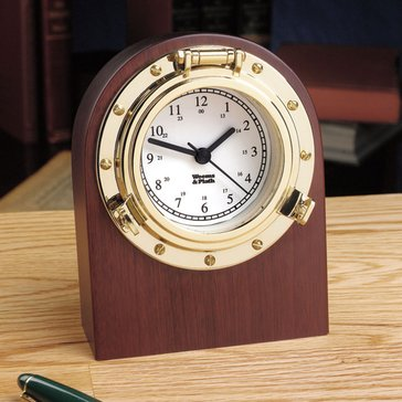 Weems & Plath Porthole Desk Clock With Blank Engravable Plate