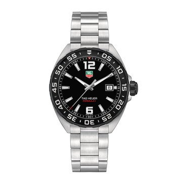 Tag Heuer Men's Formula 1 Black/Fine Brushed Stainless Steel Watch, 41mm
