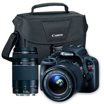 Canon EOS Rebel SL1 DSLR Kit with 18-55mm & 75-300mm Lens & 100ES Camera Bag