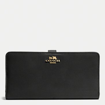 Coach Madison Leather Skinny Wallet Black