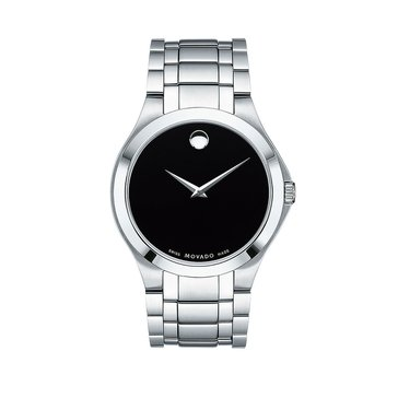 Movado Men's Black Museum Dial Stainless Steel Watch, 40mm